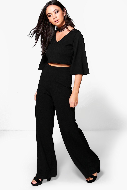Choker Crop & Wide Leg Trouser Co-Ord - black