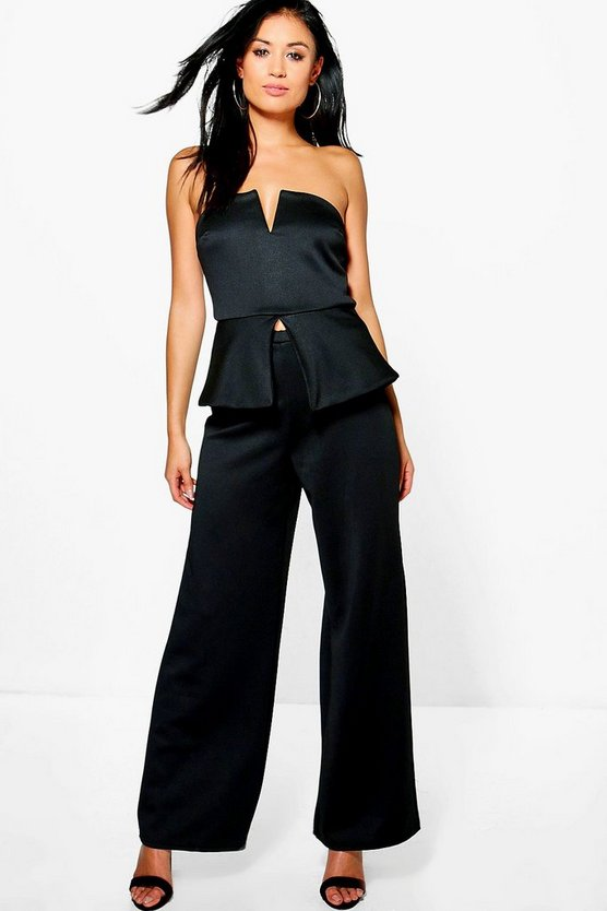 Heidi Bandeau Peplum Top & Wide Leg Trouser Co-Ord