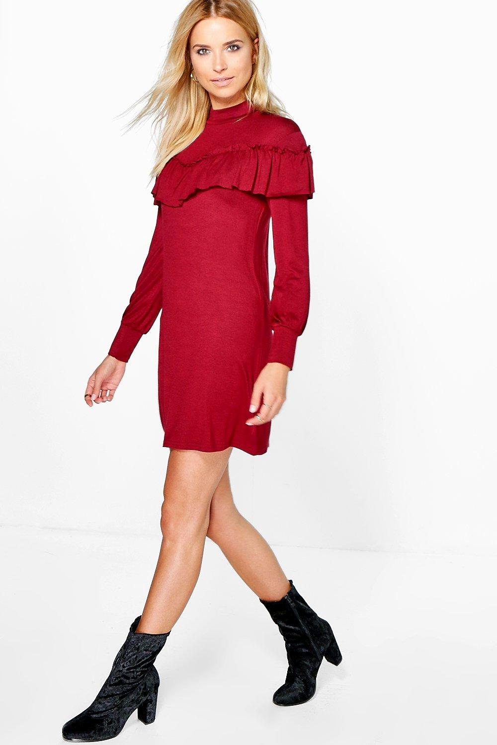 Amelia Ruffle Detail High Neck Shift Dress