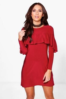 Keira Ruffle Slinky Shift Dress