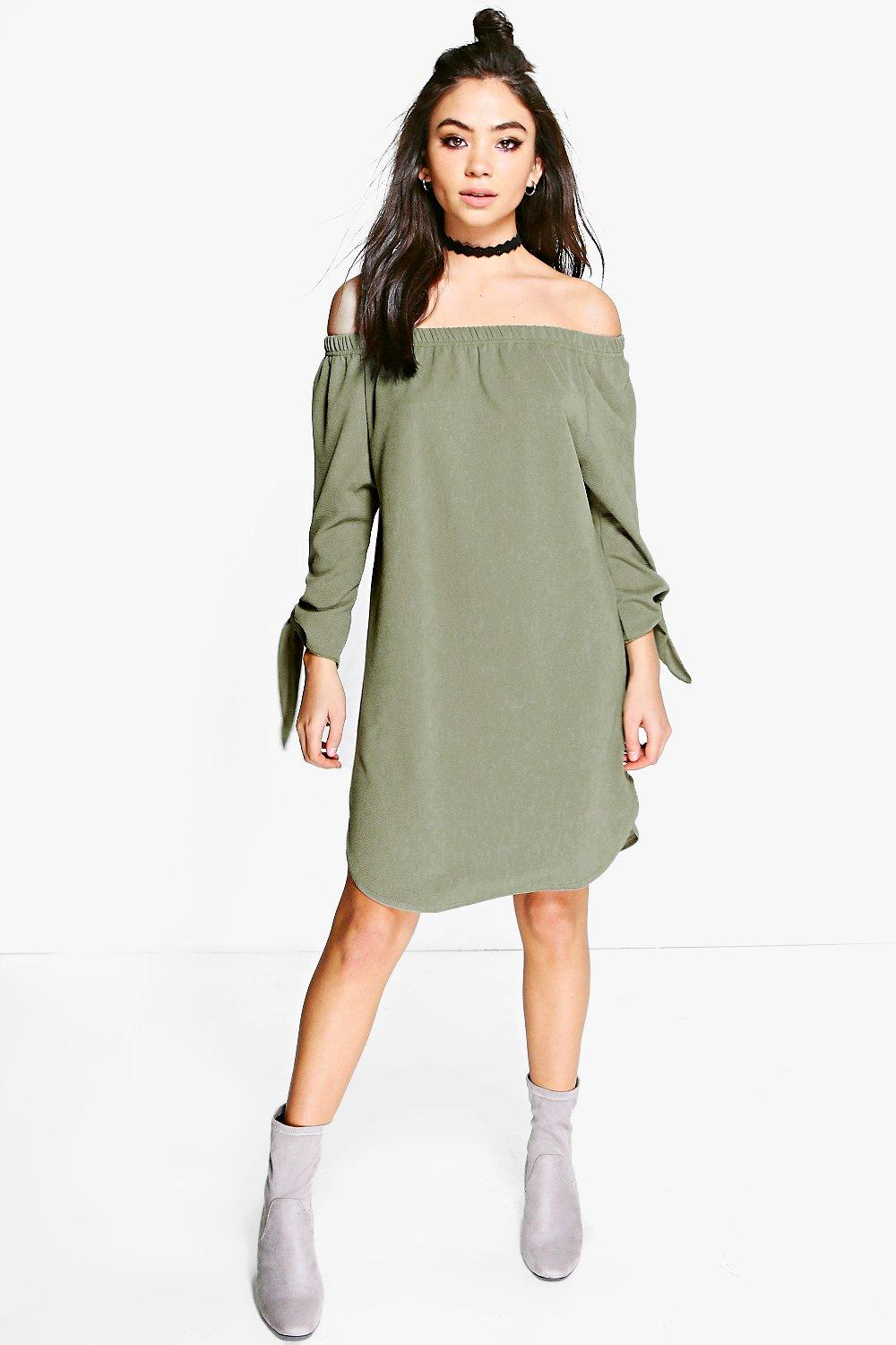 Off Shoulder Curved Hem Tie Shirt Dress  khaki