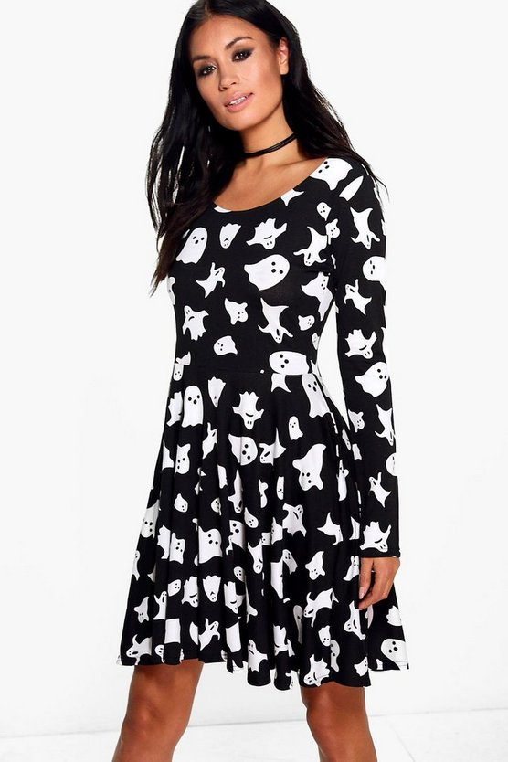 Hillary Halloween Ghost Print Skater Dress