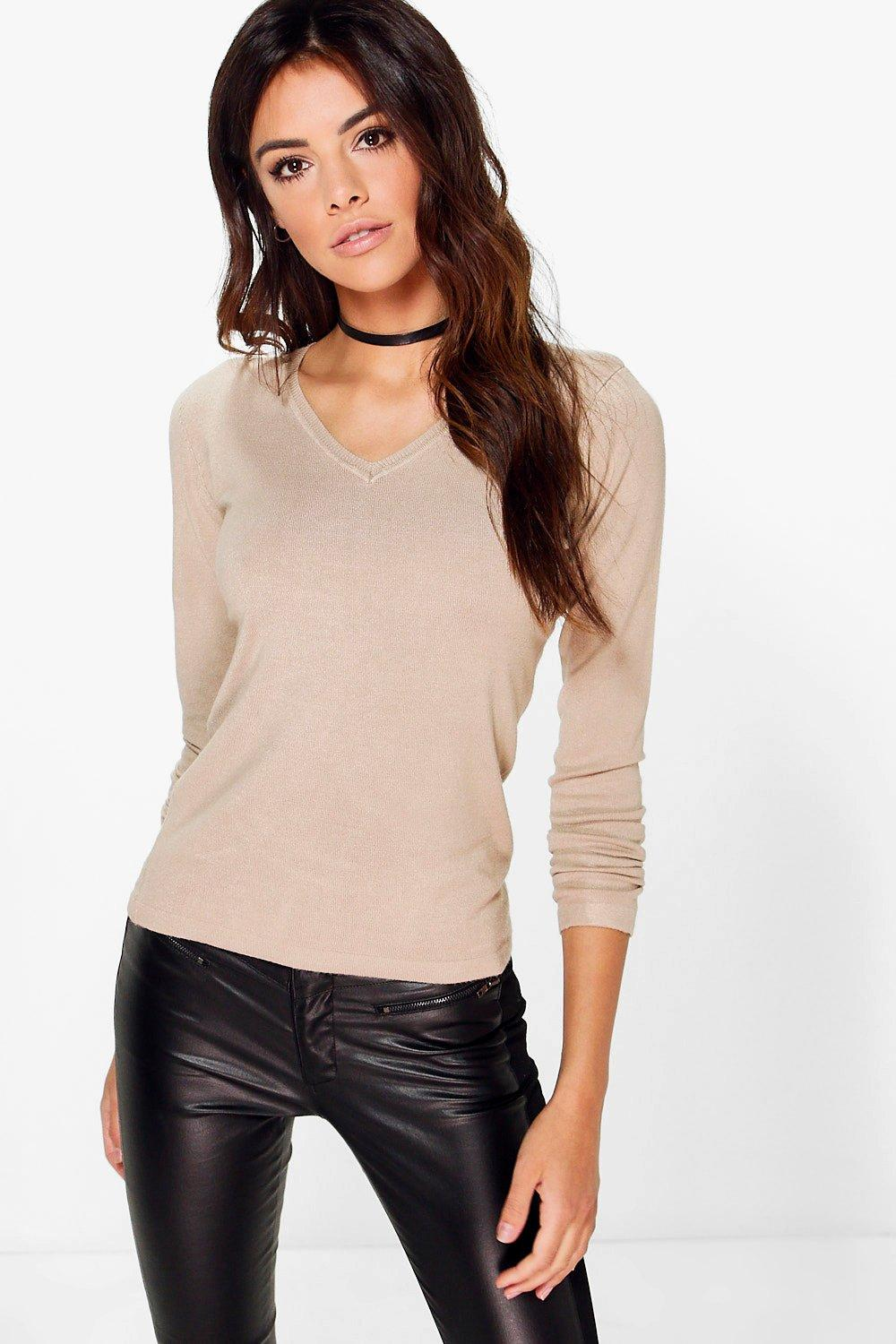 Caroline Fine Knit V-Neck Jumper