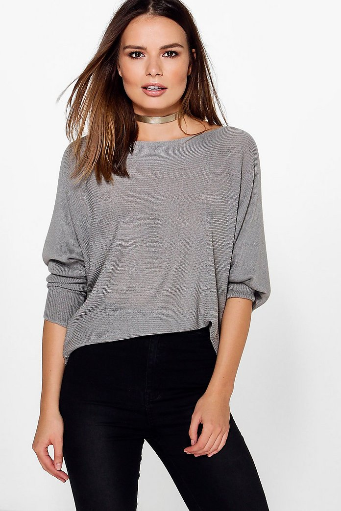 Evie Soft Rib Knit Batwing Jumper