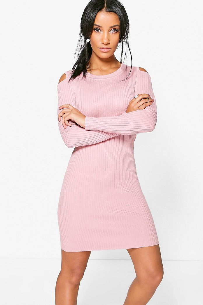Isabelle Cold Shoulder Rib Knit Bodycon Dress