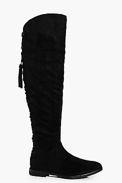 Tia Tie Back Flat Over The Knee Boot