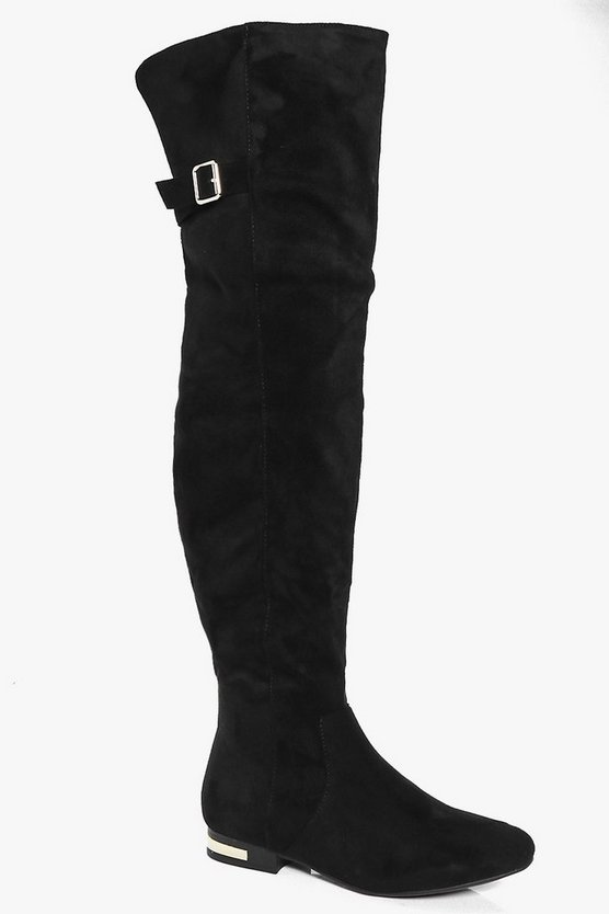 Paige Buckle Trim Flat Over The Knee Boot