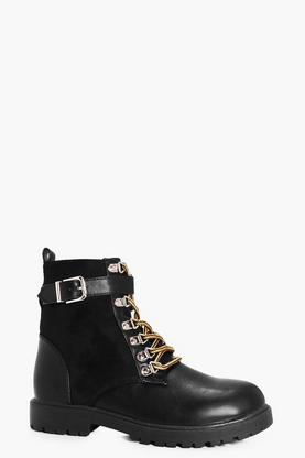 Emilia Suedette Panel Padded Cuff Hiker Boot