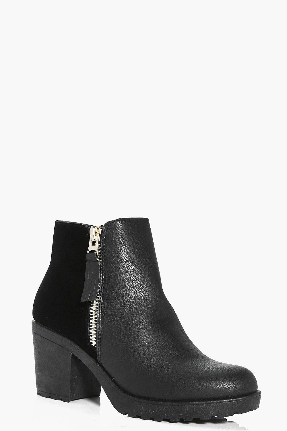 Megan Zip Side Mix Material Boot