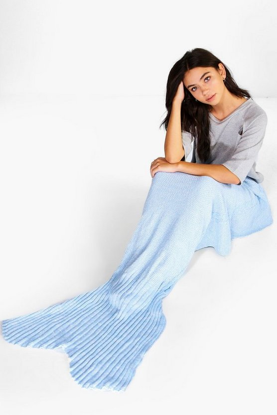 Metallic Blue Knitted Mermaid Tail Blanket