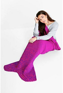 Purple & Pink Knitted Mermaid Tail Blanket