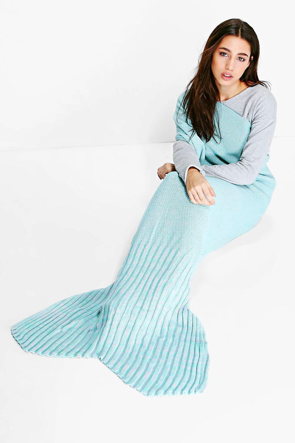 Mint and Lilac Knitted Mermaid Tail Blanket