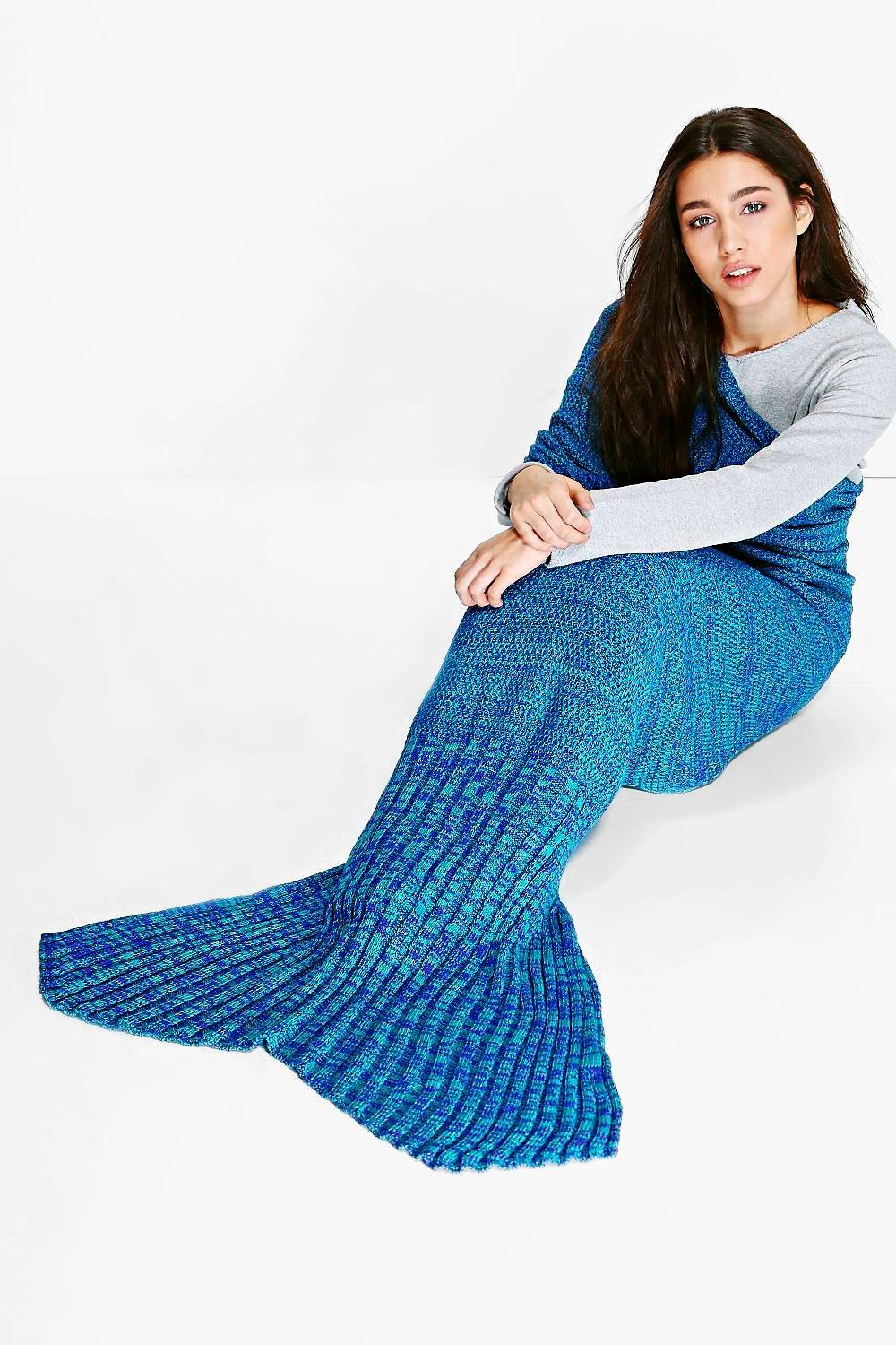 Purple & Jade Knitted Mermaid Tail Blanket