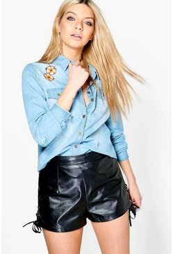 Ashley Floral Embroidered Denim Shirt