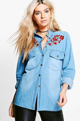 Alyson Floral Embroidered Denim Shirt