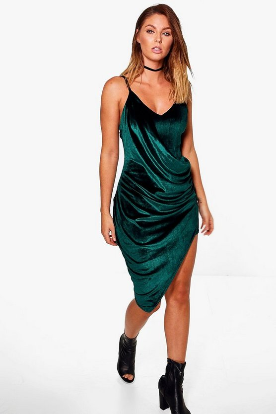 Viv Velvet Wrap Drape Asymmetric Midi Dress