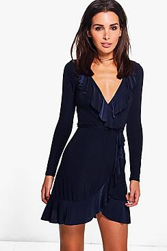 Aishwarya Frill Detail Wrap Skater Dress