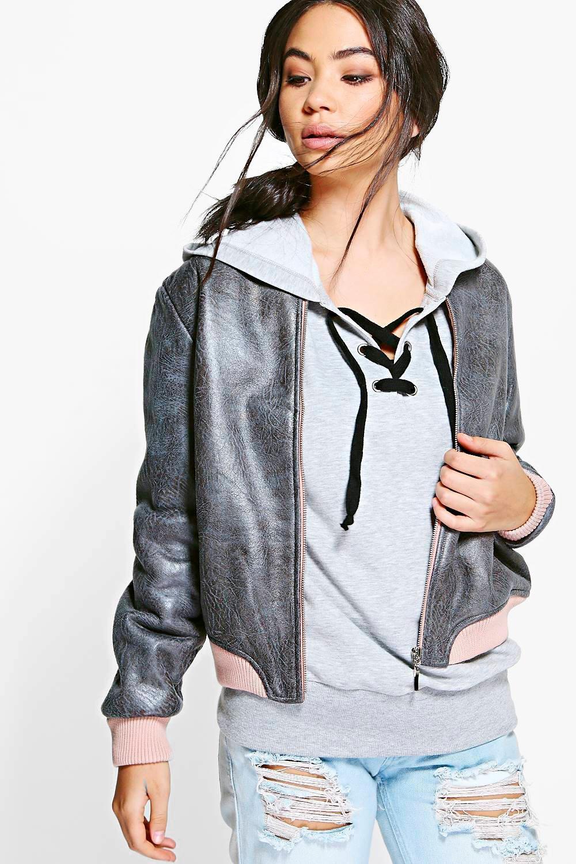 Emma Boutique PU Bomber Jacket | Boohoo