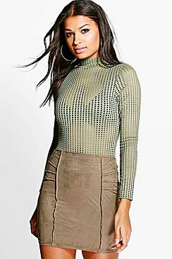 Priya Pin Tuck Detail Suedette Mini Skirt