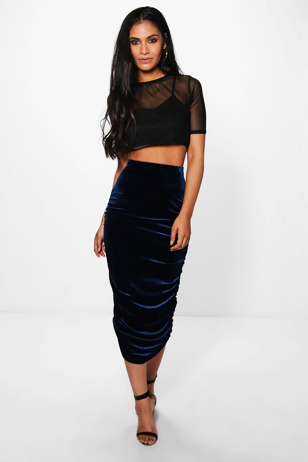 Loren Rouched Side Velvet Midi Skirt