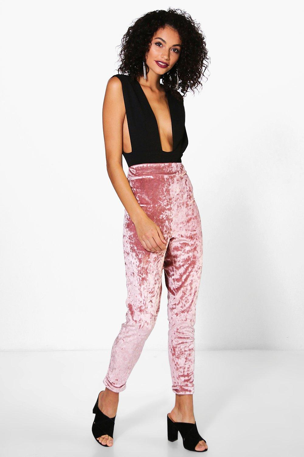 Ria Super Skinny Stretch Crushed Velvet Trousers