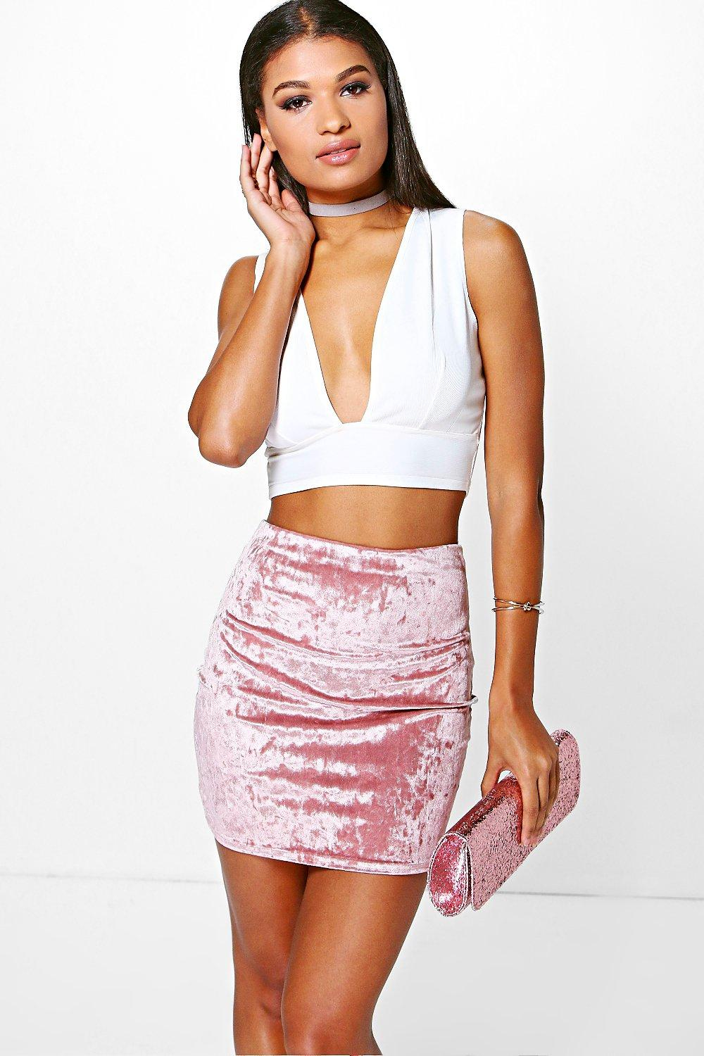 Priya Crushed Velvet Mini Skirt