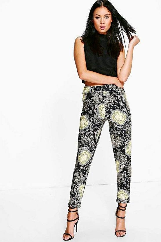Helena Elaborate Gold Chain Print Skinny Trousers