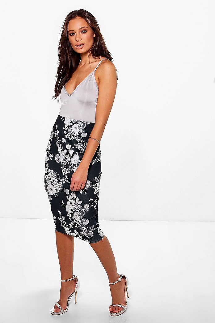 Gianna Monochrome Floral Midi Skirt