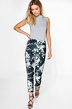 Amya Monochrome Floral Skinny Stretch Trousers