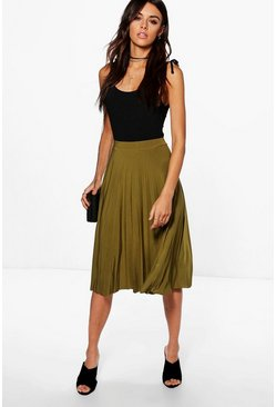 Geneva Pleated Slinky Midi Skirt