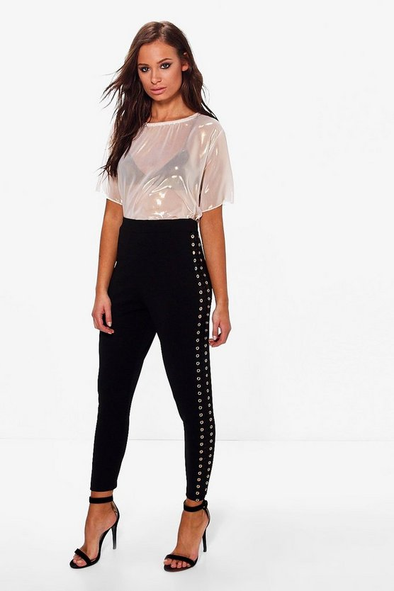 Adelynn Eyelet Side Panel Stretch Skinny Trousers