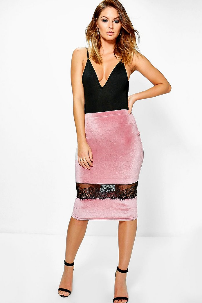 Addie Velvet Lace Trim Midi Skirt