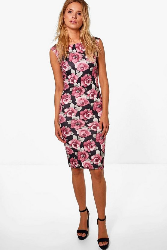 Kelly Floral Print Bardot Bodycon Midi Dress