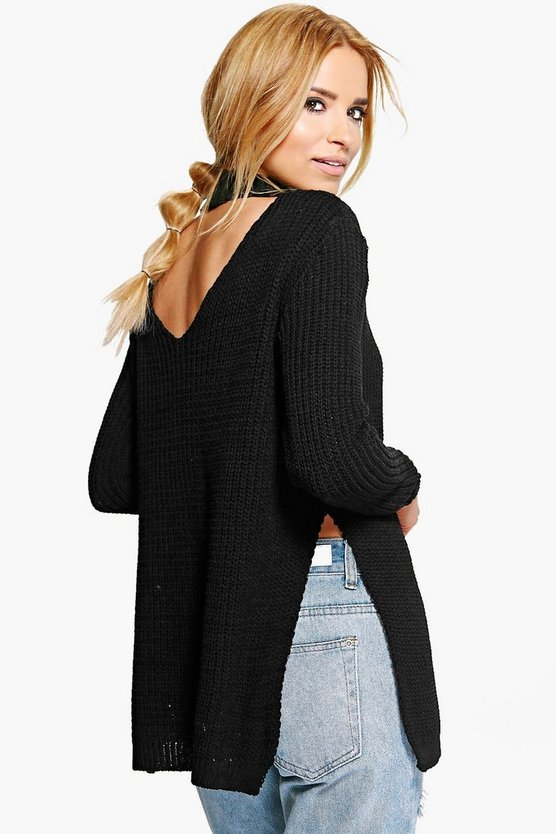 Brooke Choker Plunge V-Back Oversized Jumper
