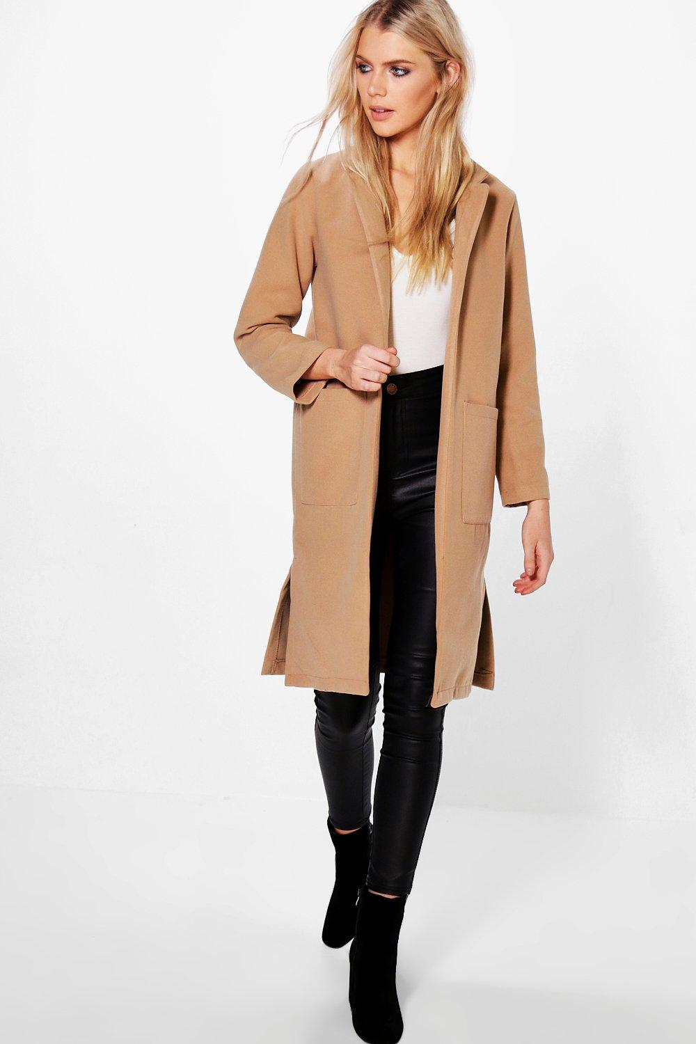 Savannah Wool Look Coat With Pockets