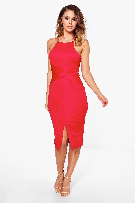 Twist Front Midi Pencil Dress - red