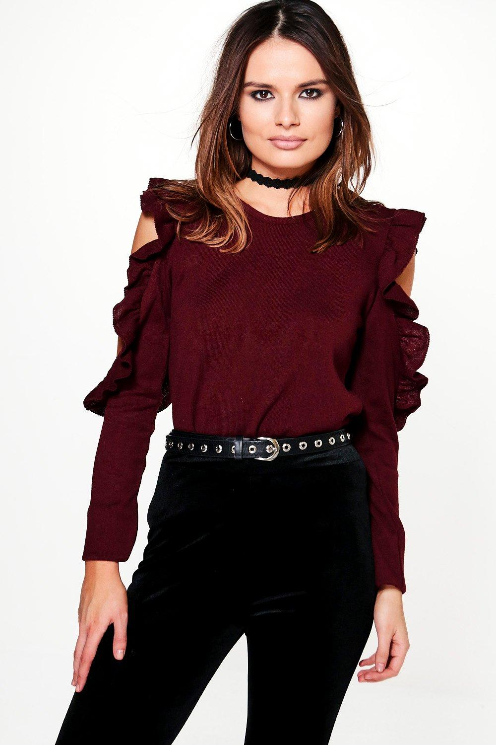 Camilla Ruffle Cold Shoulder Jumper
