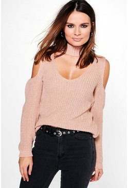 Ruth Cold Shoulder Choker Jumper