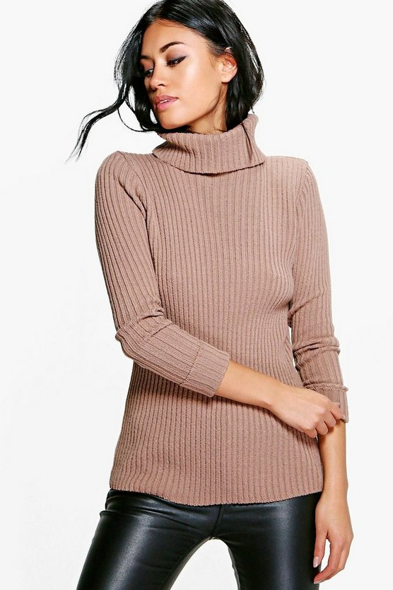 Faith Turn Up Cuff Rib Knit Jumper