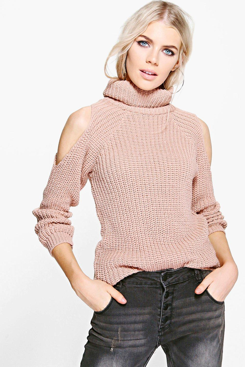 Tilly Roll Neck Cold Shoulder Jumper