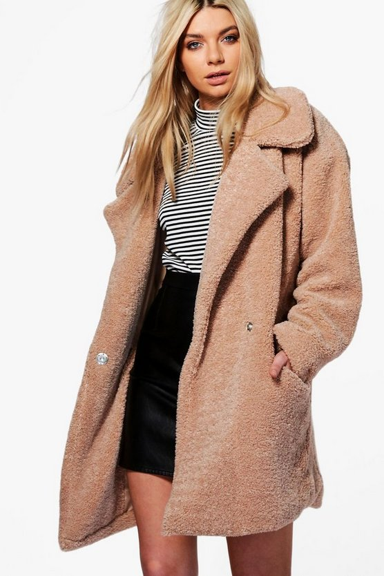 Sarah Teddy Fur Oversized Camel Coat