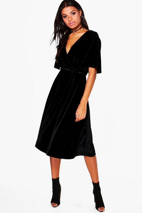 Rhia Velvet Wrap Midi Dress