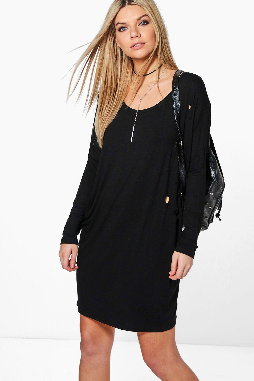 Long Sleeve Distressed Shift Dress - black