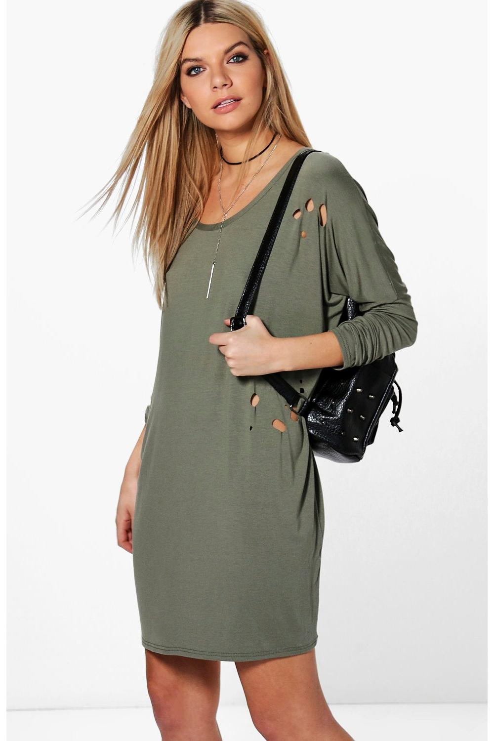 Jayne Long Sleeve Distressed Shift Dress