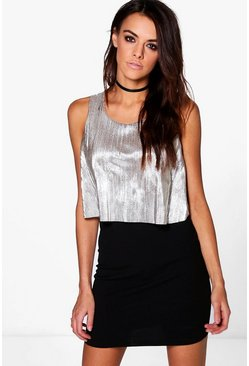 Tiana Layer Metallic Pleat Bodycon Dress