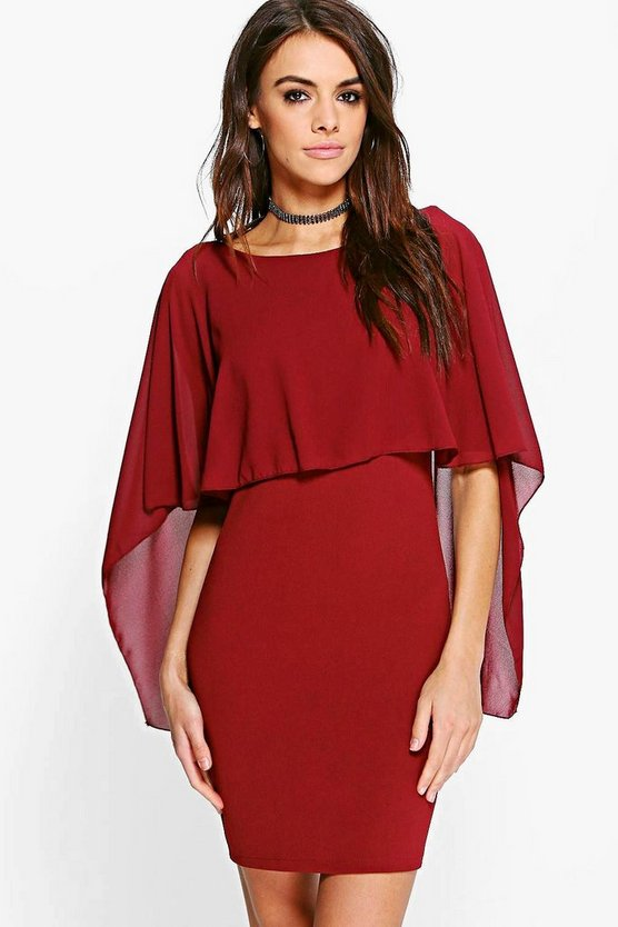 Katie Chiffon Cape Bodycon Dress
