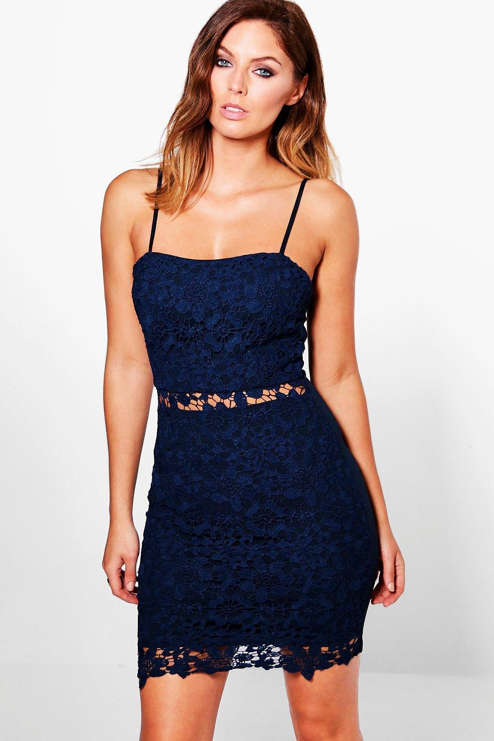Penelope Crochet Strappy Bodycon Dress