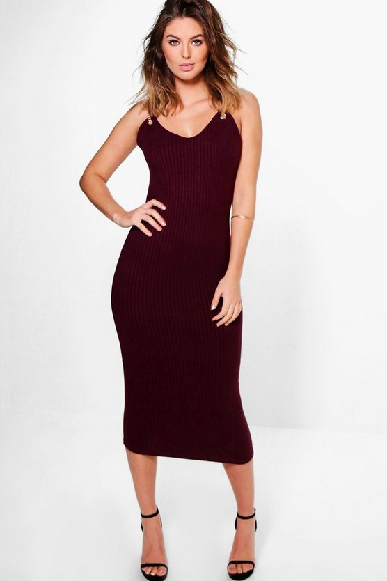Zoey Metal Trim Strappy Bodycon Dress