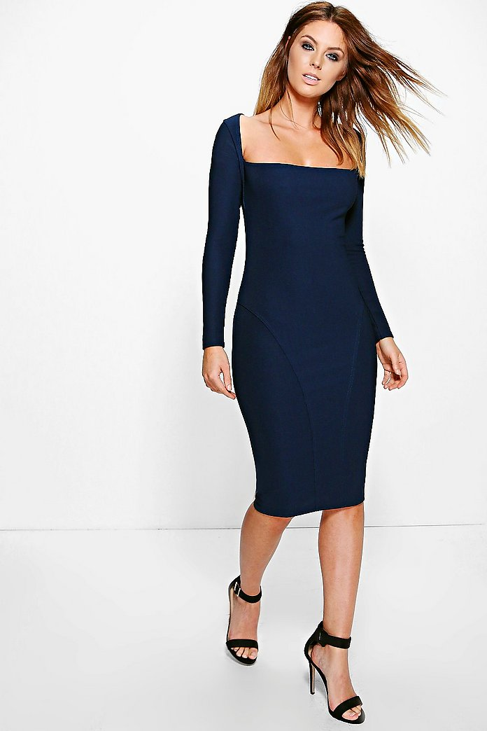 Hayley Square Neck Long Sleeved Midi Dress