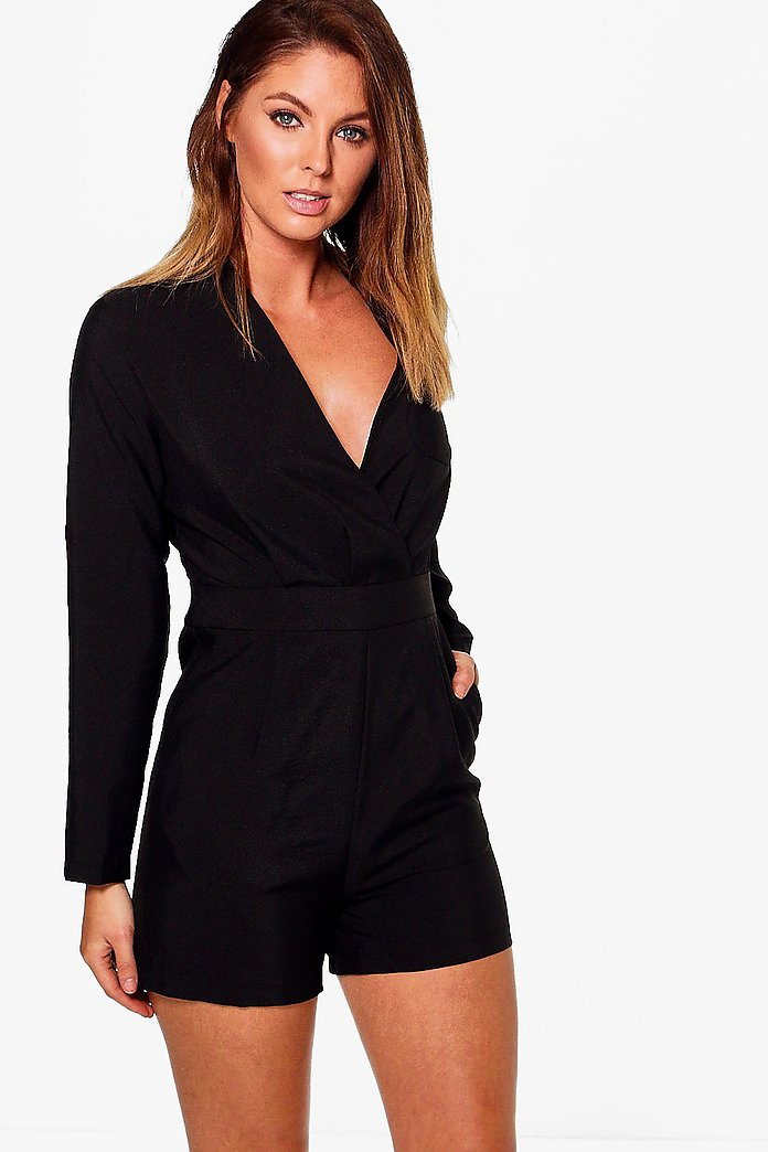 Amelia Tailored Wrap Woven Pocket Playsuit
